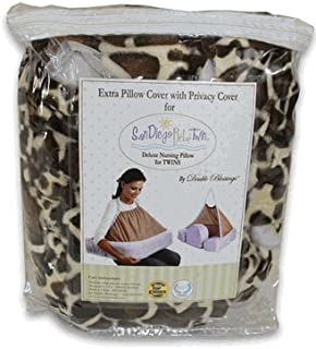Double Blessings - Extra Changeable Pillow & Privacy Cover - fits San Diego Bebe Twin and EZ-2-Nurse Twins Nursing Pillows (Covers only - pillow inserts are not included), Giraffe,