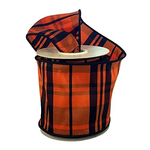 Halloween Tartan Plaid Wired Ribbon – 4″ x 10 Yards, Orange & Black, Fall Decor, Autumn Wreath, Thanksgiving, Decorations, Swag, Presents, Gift Bow, Gift Basket