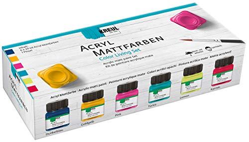 Kreul 75601 - Acryl Mattfarben im Color Living Set , cremig deckende, schnelltrocknende Farbe auf Wasserbasis, für viele verschiedene Untergründe geeignet, 6 x 20 ml Farbe und ein Pinsel