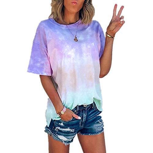 x8jdieu3 Estate Girocollo Casual Tie-Dye Stampa Sfumata T-Shirt Allentata Camicia Da Donna Maniche Corte