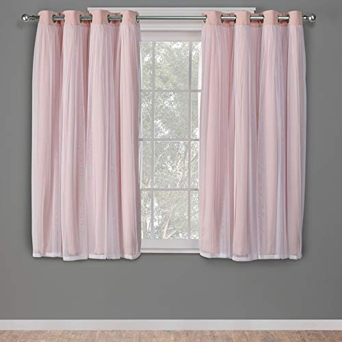 Exclusive Home Curtains Catarina Layered Solid Blackout and Sheer Window Curtain Panel Pair with Grommet Top, 52x63, Rose Blush, 2 Piece