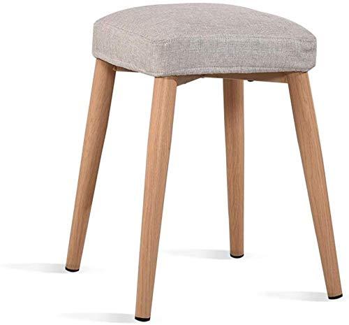 YLCJ Kruk voor doek kunsten, comfortabele hoge kruk in ademend hout voor slaapkamer, kaptafel, make-up stoel, stoel hoogte 46 cm (kleur: paars) Lichtgrijs
