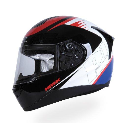 motorcycle street helmets Nitek P1 Full-Faced Motorcycle Street Helmet (Indy Graphic, Medium)