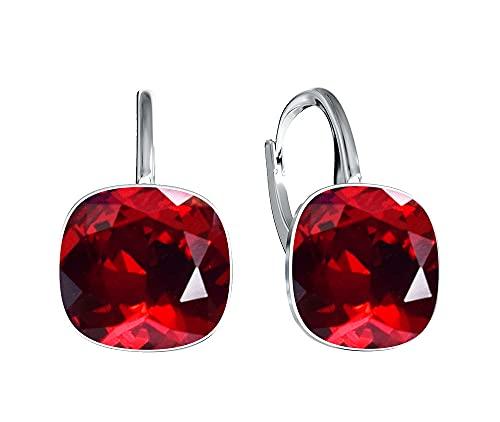 Crystals & Stones Siam - Pendientes cuadrados de plata 925 con cristales de Swarovski - Bonitos pendientes para mujer - Maravillosos pendientes con caja de regalo