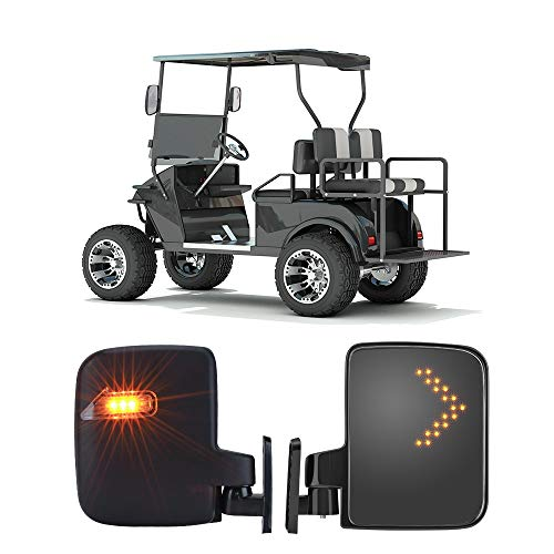 kemimoto Golf Cart Mirror, Universal Golf Cart Side Mirrors with LED Turn Signal Light Rearview Mirrors for Club Car Ezgo Yamaha