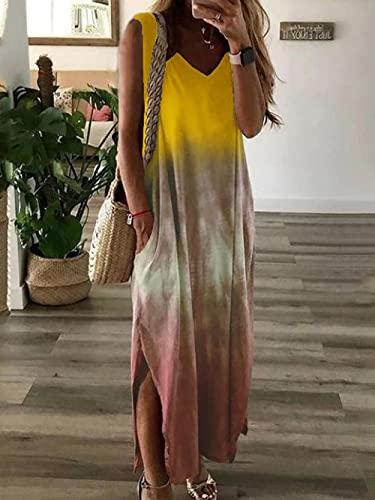 Vestido Largo sin Mangas con Estampado enchufable de gradiente submarco V-Win Europeo y Americano de Talla de Verano para Mujer-Yellow_3XL