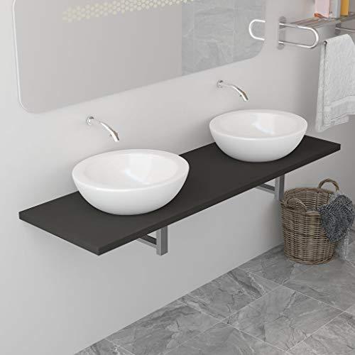 UnfadeMemory Waschtischplatte Waschtischkonsole aus Spanplatten + Metall Waschtisch-Wandregal Waschtisch Badezimmer-Wandregal für Waschbecken, Regalstärke 25 mm (160 x 40 x 16,3 cm, Grau)