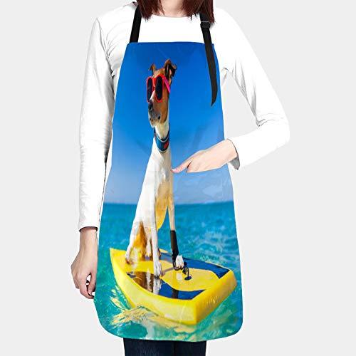 kThrones Delantales de Cocina con Bolsillo,Perro navegando en la Tabla de Surf con Gafas de Sol,Delantal Impermeables para Hombre Mujer Delantale para Jardinería Restaurante Barbacoa Cocinar Hornear