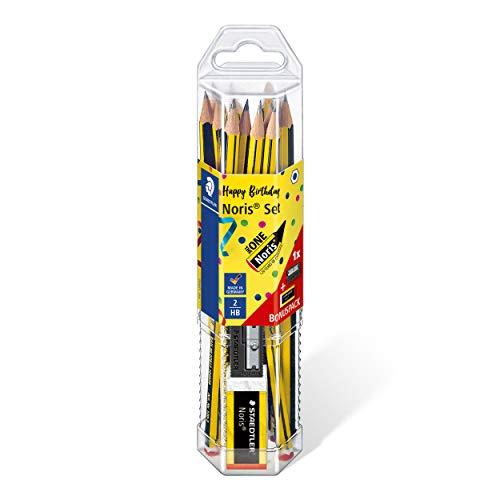 STAEDTLER Matite Noris, HB, esagonali, set di 12 matite incredibilmente infrangibili, 1 temperino, 1 gomma, alta qualità, made in Germany 61 120P2