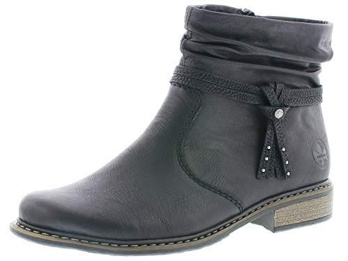 Rieker Damen Stiefeletten Z4953, Frauen Biker Boots, Ladies feminin elegant Women\'s Women Woman Freizeit leger,schwarz,40 EU / 6.5 UK