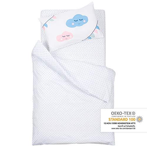 Premium Baby Kinder Bettwäsche Set, Kissenbezug 40x60cm & Deckenbezug 100x135cm, Flauschig Weich, OEKO-TEX zertifiziert, 100% natürliche Baumwolle, Motiv: Herz in Blau-Rot von emma & noah