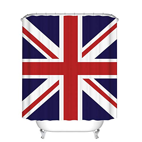 Fangkun Shower Curtain Bathroom Decor - UK British Flag Design Waterproof Polyester Fabric Bath Curtains Set - 12pcs Shower Hooks - 72 x 72 inches