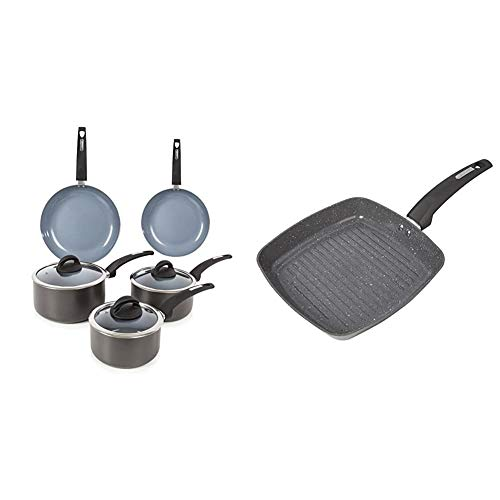 Tower Cerasure Pots And Pans Set & Cerastone Induction Grill Pan, Non Stick Ceramic Coating, Easy to Clean, Dishwasher Safe, Graphite, 25 cm