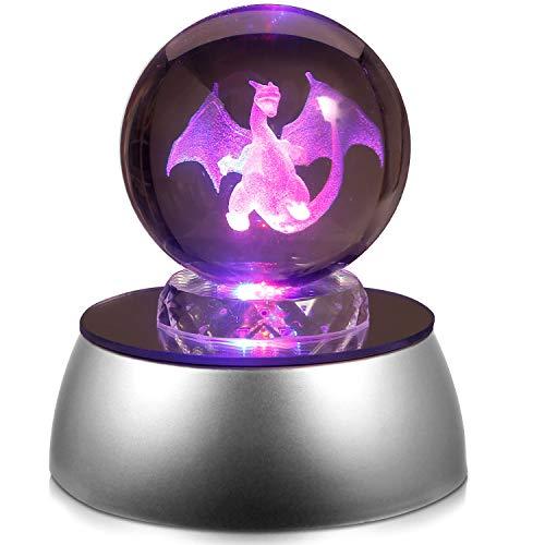 Lámpara LED 3D en forma de bola de cristal, regalo de cumpleaños para niños y niñas, bola de cristal 3D con base de descoloración, la base se descolora automáticamente – 50 mm de diámetro (Charizard)
