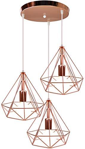 iDEGU 3 Luces Lámpara de techo moderna, E27 Lámpara Colgante de Metal jaula vintage en forma de diamante oro rosa decoración de iluminación para dormitorio, cocina, salón (Φ25 cm, 30CM Base)