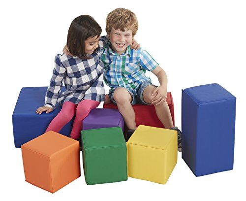 ECR4Kids ELR-0832 Softzone Foam Big Building Blocks, Soft Play Set for Kids, Primary (7-Piece)