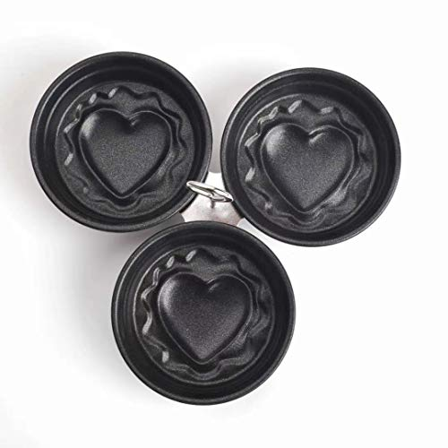 Stainless Steel Egg Poacher, Perfect Poached Egg Maker, Round Egg Cooker Rings For Breakfast Cooking Tool 3 Poached Egg Cups (Heart Bottom)