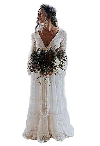 HYC Damen Vintage Brautkleid mit Lange Ärmel V Ausschnitt Bohemian Hochzeitskleid Gr. 34, Elfenbeinfarben