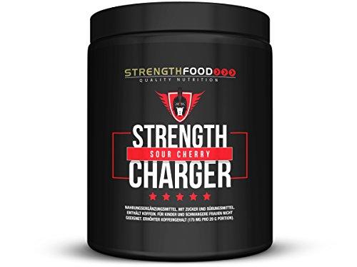 Trainings Pre Work Out Booster Strength Charger mit Citrulin, Beta-Alanine, TheaCrine, AstraGin, freiem Koffein ohne Kreatin 2 Geschmäcker, 500g (Sour Cherry)