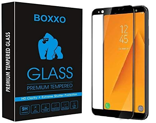 Boxxo Screen Protector for Samsung Galaxy A6 Plus 2018 [Tempered Glass Guard with Edge to Edge Protection] [Gorilla] [Full Coverage] Easy Installation [Anti FingerPrint]