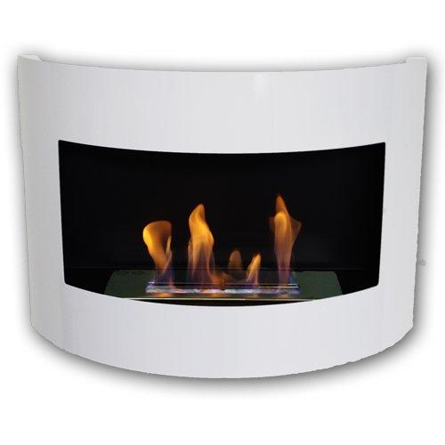 Gel y etanol chimenea acero de pared Diana Deluxe Blanco brillo + quemador ajustable 1 litro