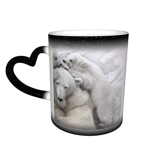 Taza de café cambiante mágica, oso de animal, oso polar, impresión personalizada, taza de cerámica sensible al calor para regalo, té, café