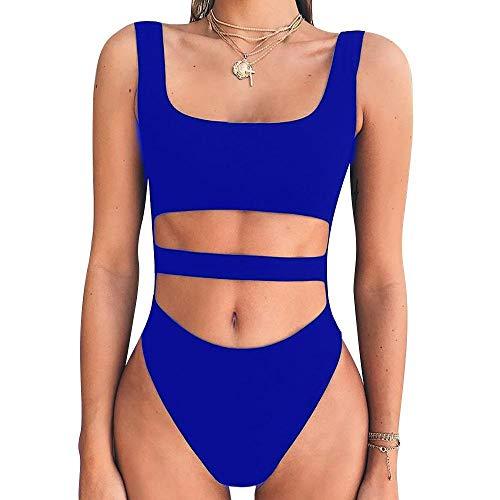 B/H Costume Intero con Coppe ,Bikini Monopezzo Europeo e Americano con Fionda, Sexy Slip Vuoto Jumpsuit-Blue_M, da Bagno Vestito Costumi Mare da Donna Taglie Forti