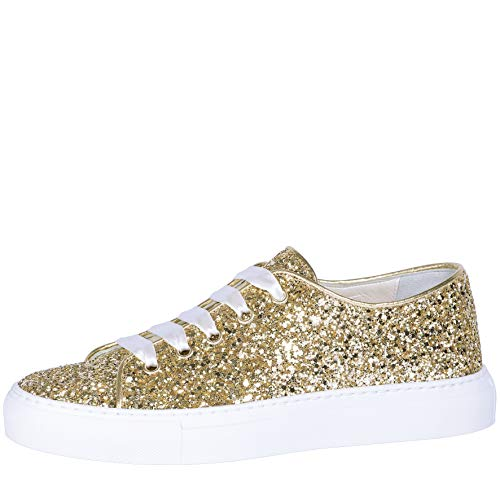 Fiarucci Brautschuhe Suzan - Damen Sneaker gepolstert, Glitzer Gold, Satin - Gr. 40 (UK 7)