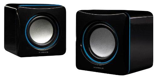 Vivanco IT-SP 2.0 tragbarer Stereo Lautsprecher für Notebook (3,5mm Klinkenstecker) inkl. USB Stromversorgung schwarz/blau