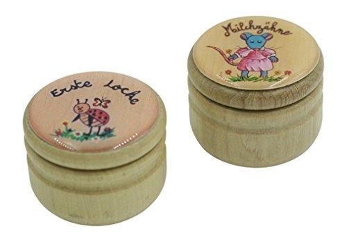 Holzdosen Set Erste Locke und Milchzähne (Maus rosa) 5501-5511
