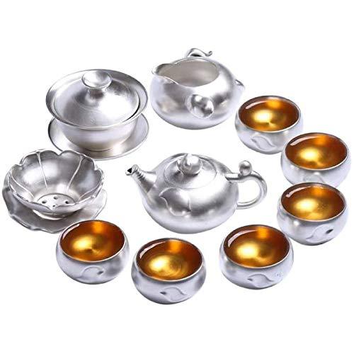 JY&WIN Tetera de Plata Juego de té de Plata esterlina Juego de Tazas de té de Kung Fu con Juego de Plata Tazón de Tapa de Tetera de cerámica para el hogar de té