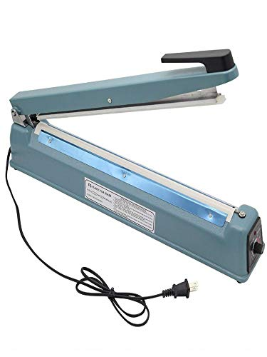 16' Heat Sealing Hand Impulse Sealer Machine Poly Free Element Plastic Sealer Manual Hand Sealer Heat Seal Packing for Tubing Poly Plastic Bag Sealing Food Meal Copper Transformer