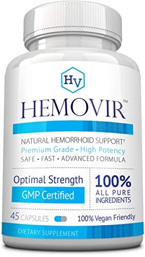 Hemovir - Best Hemorrhoid & Fissure Treatment for Rapid Healing; Reduce Itching,Irritation, Bleeding & Burning !100% Natural Ingredients - 45 Capsules - 60 Days Money Back Guarantee!
