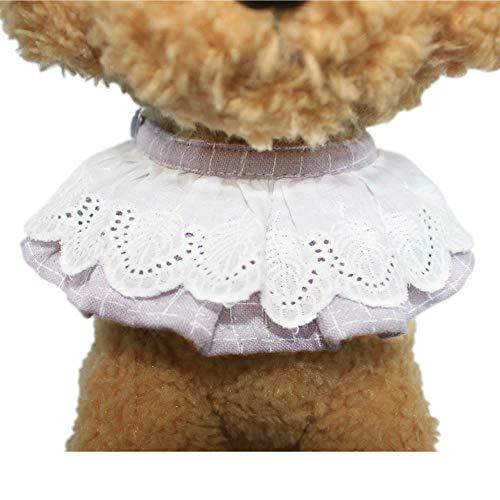Entaifeng Collar de Perro Gato Pajarita Gatito Cachorro Collar joyería con Cascabel de Encaje Lazo para Mascotas pañuelos de niña Accesorios de decoración – Ajustable