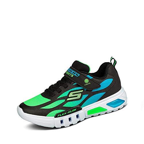 Skechers Kids Boys' S Lights: Flex-Glow Sneaker, Black/Blue/Lime, 1 Medium US