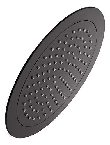 'aquaSu® Kopfbrause Bacila mit 1 Strahlart   schwarz   rund   24 cm Durchmesser   mit Kugelgelenk   Antikalk-Noppen   Standard-Gewinde: 1/2   Wellness-Regendusche   72433 3