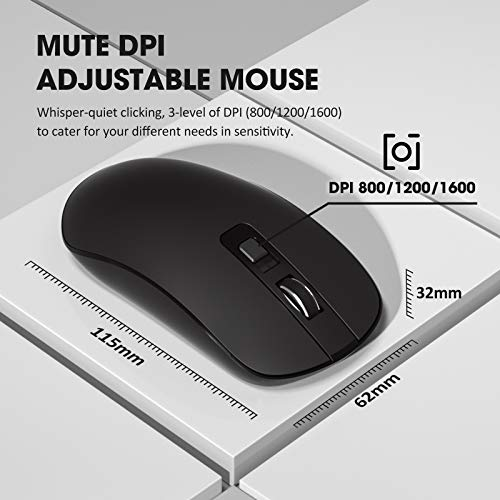 VicTsing Wireless Keyboard and Mouse Combo [Energy Saving], 3 Level DPI Adjustable Wireless Mouse and 2.4GHz Computer Keyboard, Independent On/Off Switch, Num/Caps/Power Indicator, Black