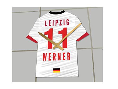 Fußball-Uhr, Bundesliga-Trikot-Uhr– personalisierbar, RB Leipzig Bundesliga Football shirt clock