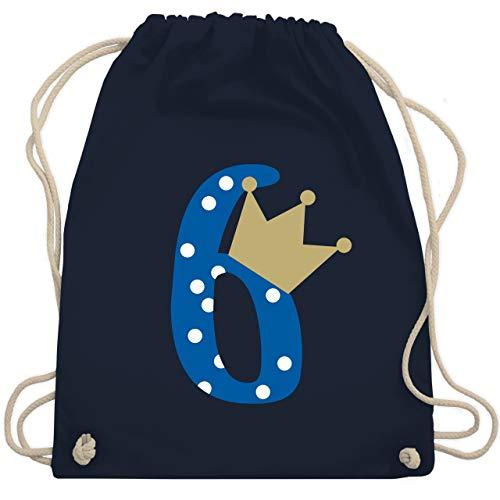 Shirtracer Geburtstag Kind - 6. Geburtstag Krone Junge - Unisize - Navy Blau - Kindergeburtstag - WM110 - Turnbeutel und Stoffbeutel aus Baumwolle
