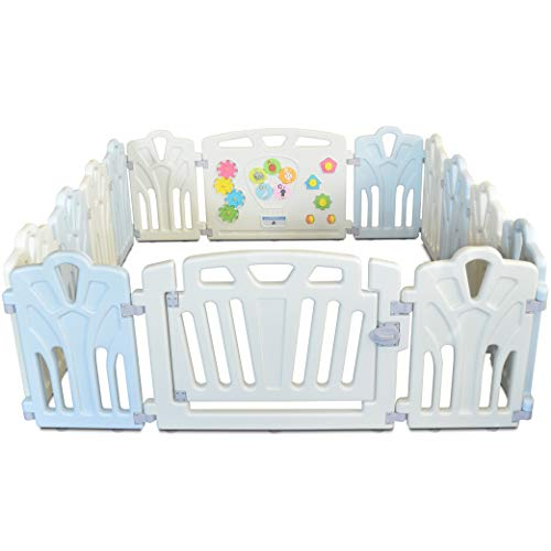 INEX Life Baby Playpen with Locking Play Gate for Babies & Toddlers | 14 Panel Design - Indoor, Outdoor Portable Play Yard - Adjustable, Non-Toxic, Multi-Color Home Play Zone