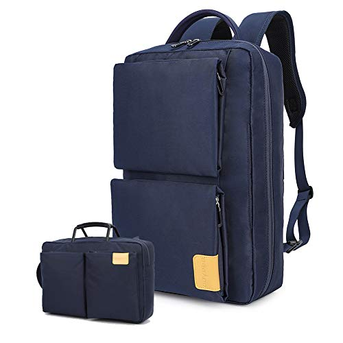 """Dual-use Laptop Backpack, Business Briefcase Convertible Waterproof Rucksack, Travel Office College School Computer Bag 15""""(Blue)"""