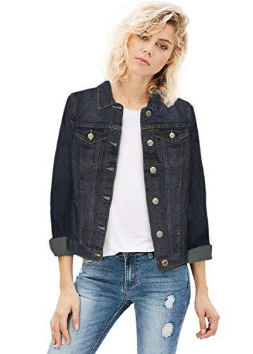Women Junior classic 4 Pockets Denim Jacket JK175592 DARK WASH M