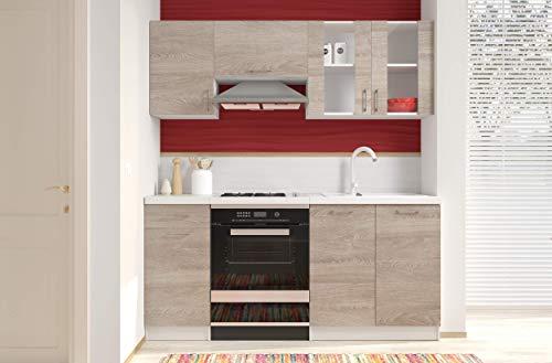 Arreditaly Cucina Componibile Completa di Vetrina Mobili Pensili Sospesi e Mobili Base Cucinino Moderno in Laminato da 180 Cm da Incasso (Quercia)