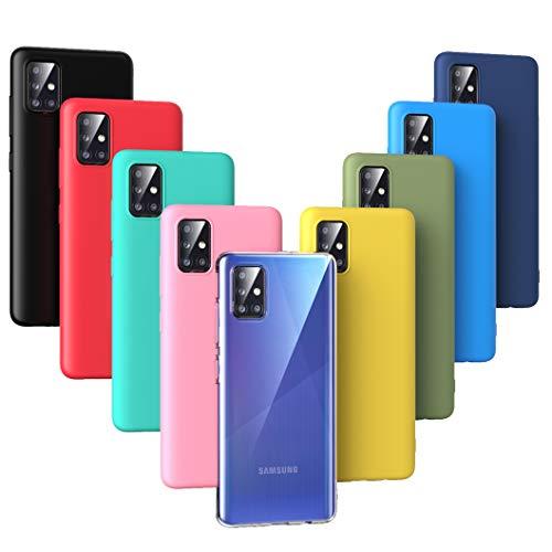 Oududianzi - 9X Funda para Samsung Galaxy A71 (2020), [Serie Arcoiris] Carcasa Mate Suave en Silicona TPU [Transparente +Negro + Rosa + Azul Oscuro + Rojo + Verde Menta + Amarillo + Verde + Azul]