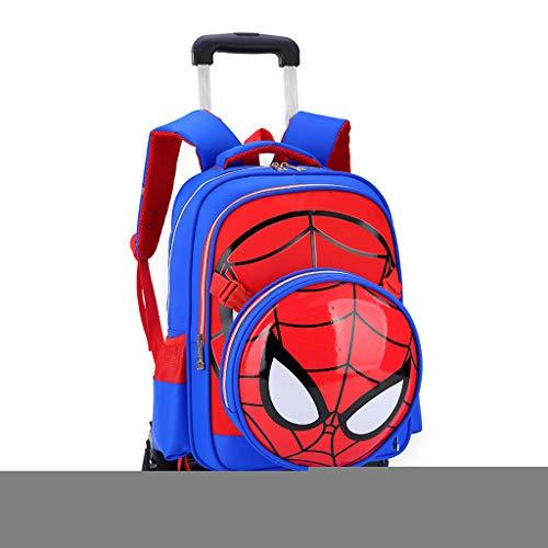 XIAOFANG Articoli da Regalo Spiderman Stampato Elementare Trolley Zaino Scuola dei Bambini di Rolling Trolley Primaria Book Bag-Bambini 43 * 32 * 19CM Blue- 6 Wheels