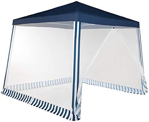 Royal Gardineer Mücken Pavillon: Pavillonzelt mit Moskito-Netz, 300x300x236 cm, 280 Mesh, blau/weiß (Moskitonetz)