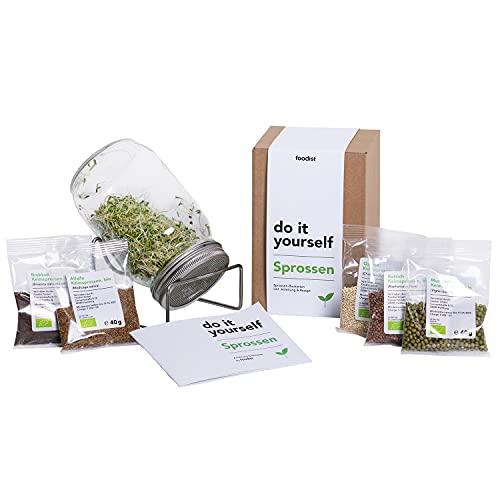 Foodist Sprossenglas Keimglas Set mit Sprossen Samen inkl. 5 x Keimsprossen Bio-Mix Gemüse Alfalfa -, Brokkoli -, Mungobohnen -, Rettich - und Quinoasamen mit kleinem Sprossenzucht Buch