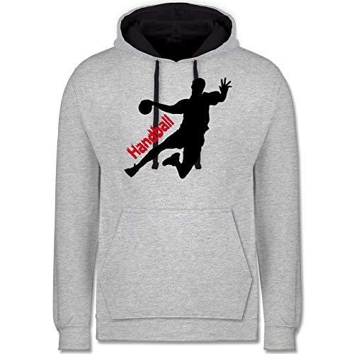 Handball Geschenk für Handballer - Handballer mit Schriftzug - M - Grau meliert/Navy Blau - Hummel Kinder Pullover - JH003 - Hoodie zweifarbig und Kapuzenpullover für Herren und Damen