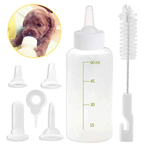 PetGens 60 ml Silikon Babyflasche für kleine Katzen und Hunde, Futterflasche, Zuchtflasche mit Nippelbürstenset für kleine Katzen und Hunde
