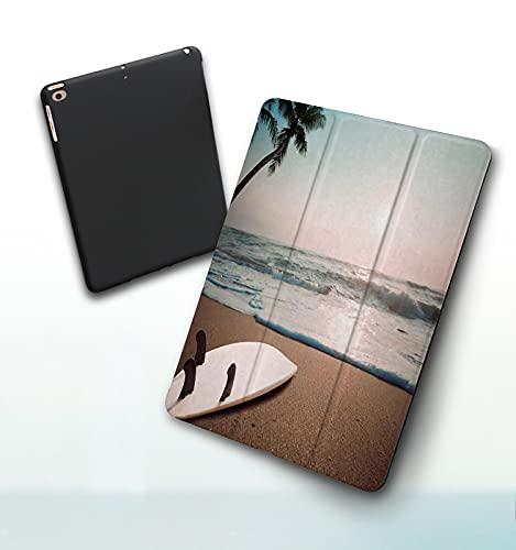 Funda para iPad 9,7 Pulgadas, 2018/2017 Modelo, 6ª / 5ª generación,Tabla de Surf en Playa Tropical al Atardecer en Verano Smart Leather Stand Cover with Auto Wake/Sleep